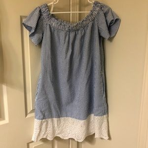 French Connection Seersucker and Lace Dress - L